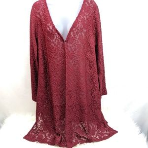 Susan Graver Long Lace Duster Red Sheer